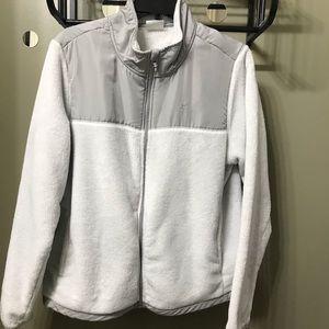 White Gray Plush Fleece Lined Jacket, XXL
